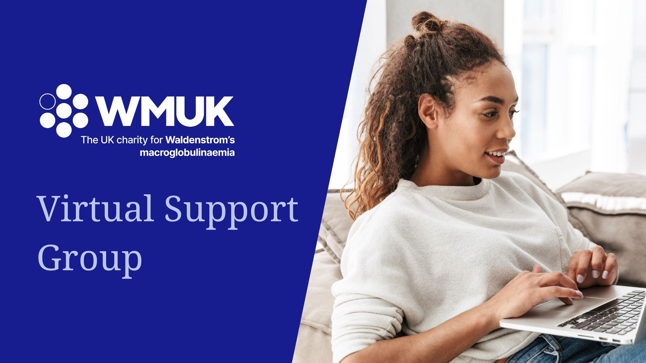 WMUK Virtual Support Group, woman smiles at her laptop
